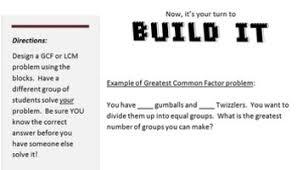 on lcm gcf build it least common multiple greatest common factor