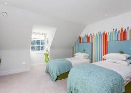 Wallpaper For Kids Bedrooms Unisex Kids Bedroom With Pencil Wallpaper Decorating Ideas For