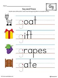 say and trace letter g beginning sound words worksheet color