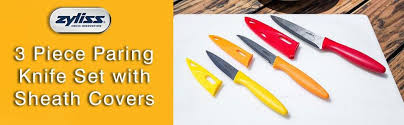 colorful kitchen knives amazon com zyliss 3 paring knife set with sheath covers
