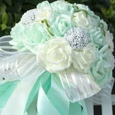 mint green flowers 2016 striped transparent artificial wedding bouquet mint