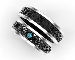 wedding bands sets his and hers his and hers blue diamond matching wedding band vidar jewelry