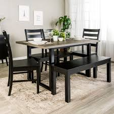 walker edison furniture company madison 6 piece aged grey black