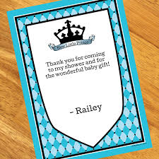 thank you notes for baby shower baby prince baby shower personalized thank you notes