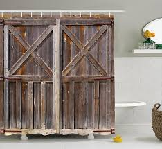 rustic shower curtain by ambesonne wooden barn