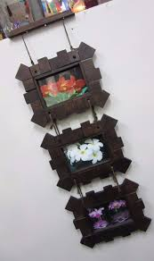 carved wood framed wall funky stuff set of 3 hanging carved wooden teak landscape