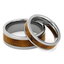 Wood Wedding Rings by Wood Wedding Ring Set With Teak Burl In Titanium