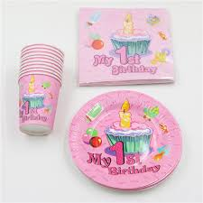 1st birthday party favors 60pcs lot baby shower happy decoration boy girl paper plates 1st