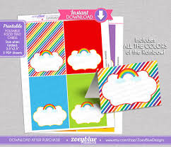 rainbow blank food tent cards labels buffet tags name place cards