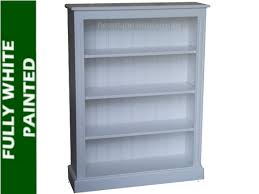100 solid wood bookcase 4ft x 3ft white painted display shelving