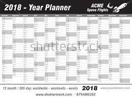 printable planner diary year planner calendar 2018 vector annual stock vector 2018
