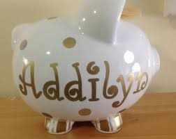 personalized silver piggy bank silver bank etsy