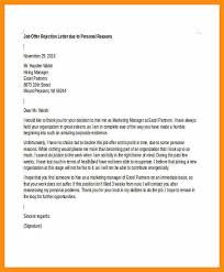 job offer rejection letter due to personal reasons format
