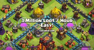 Coc Maps Farm 3m Loot Hour Without Spending Gems Clash Of Clans