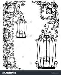 bird cage among floral decor black stock vector 364141064