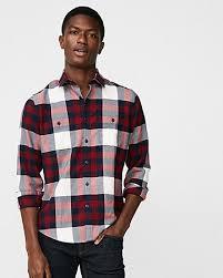 Flannel Shirts Slim Plaid Flannel Stretch Shirt Express