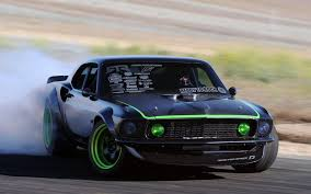 Mustang Black And Green Ford Mustang Drifting