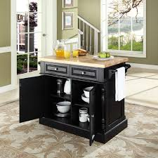 butcher block top kitchen island in black finish crosley furniture