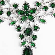 green crystal necklace set images Emerald green silver diamante statement necklace set exzada ltd jpg