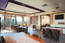 furniture and decoration of a restaurant modern style day time