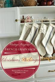 vintage inspired french grain sack christmas stockings