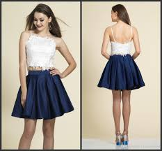 two piece prom dresses white above with appliqeus navy blue skirt
