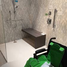 Bathroom Shower Designs Without Doors by Stylish Grey Ceramic Wall Tiled Also Wooden Bench Seater Also