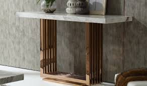 rose gold console table modrest kingsley modern console table in marble rosegold free