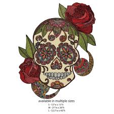 day of the dead skull with roses wall sticker decal sugar skull by v