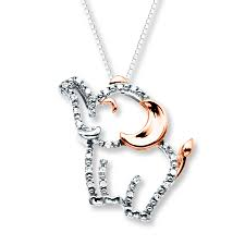 kay jewelers catalog kay elephant necklace 1 20 ct tw diamonds sterling silver 10k