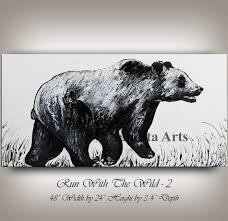 bear artwork bear painting wall art original charging black