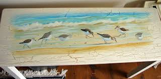 painting custom cottage furniture acrylic painting of sandpiper