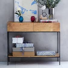 industrial console table with drawers industrial storage console west elm