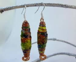 handmade paper earrings handmade paper bead earrings painted paper varnished for