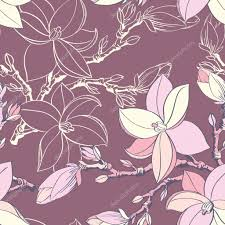 683 Best Pattern Wallpaper Textiles by Seamless Vintage Pattern With Magnolia Flower U2014 Stock Vector