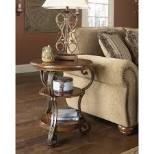 Chair Side Table Signature Designs By Nestor Medium Brown Chair Side End
