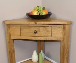 Light Oak Furniture Oak Corner Table Plantstand Lamptable Small Hallway Onedrawer