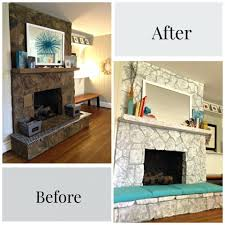 painting stone fireplace before after by paper fox rock white