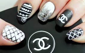 black u0026 white chanel inspired nail tutorial konad stamping youtube