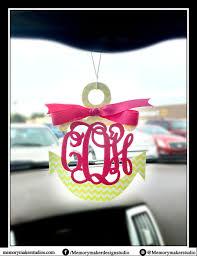glitter car anchor rear view mirror charm anchor car charm anchor initial