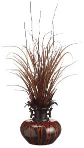 grass feather and bamboo with ceramic vase silk plant home decor