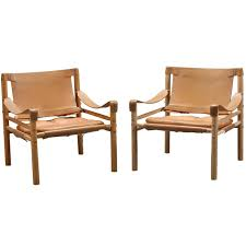 safari chairs pair of gold medal co leather sling safari chairs at