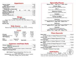 carrozza pizza menu