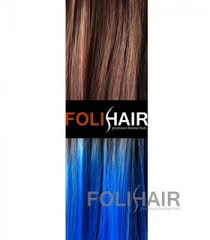 blue hair extensions dip dye ombre clip in human hair extensions brown into cobalt