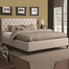 Tufted Bed Frame Queen Coaster Clean Off White Fabric Tufted Headboard Queen King