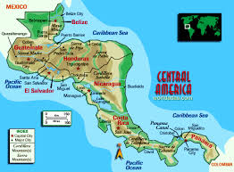 central america physical map central america and the caribbean