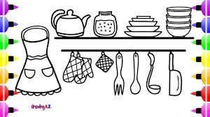 kitchen set coloring book for kids u0026 art cute coloring page for
