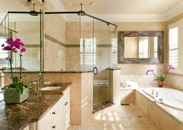 Master Bathroom Tile Ideas Photos Dark Emperador Marble Countertops Contrast With Ivory Classic