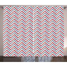 Pastel Coloured Curtains Retro Curtains 2 Panels Set Zig Zag Chevron Style Geometric