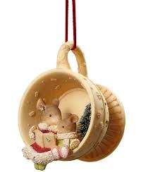 mice in tea cup ornament baby mouse tale and